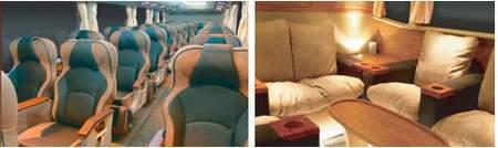 luxurious interior of malaysian express bus