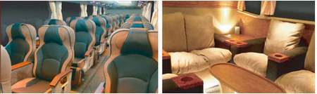 luxurious interior of malaysian express bus